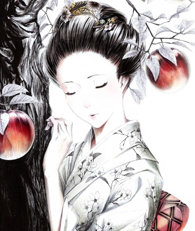 geisha-girl-tree-apples-kimono-hair-jewelry